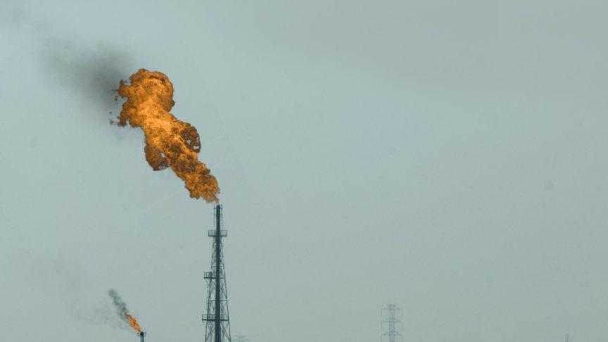 A fire at the top of an oil well in Khuzestan, Iran