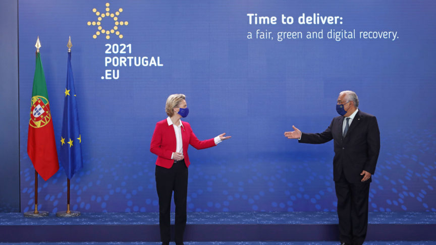 European Commission President Ursula Von Der Leyen (L) is welcomed by the Portuguese Prime Minister Antonio Costa (R) after arriving for a round of meetings with the College of Commissioners of the European Commission on the programme and the priorities of the Portuguese Presidency of the Council of the European Union (PPUE) in Lisbon, Portugal, 15 January 2021. During the first half of this year, Portugal will have its fourth presidency after 1992, 2000 and 2007. ANTÓNIO PEDRO SANTOS/LUSA