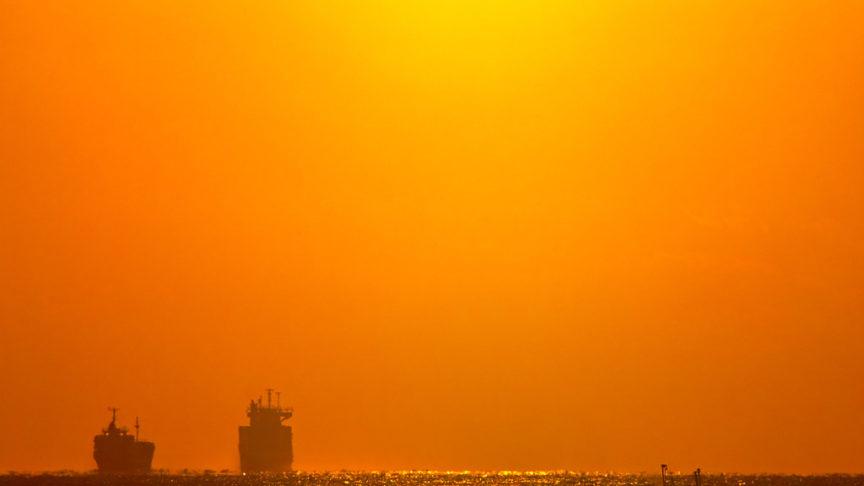Ships on an evening horizon
