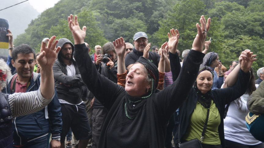 63 year old environmental protestor Hava Bekaar protests the construction of a road in the TurkishBlack Sea forest