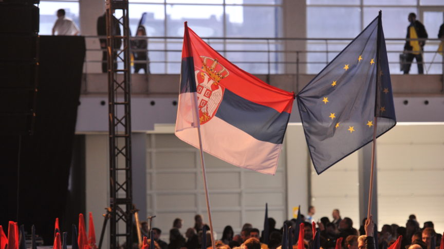 Serbian and EU flags intertwined