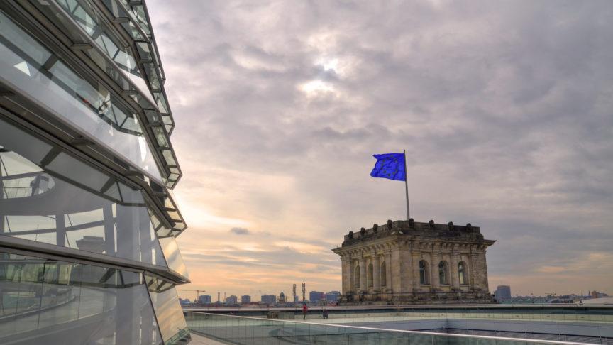 An EU flag flies over the reichstag