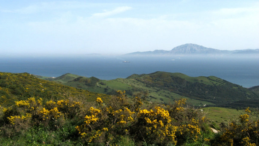 A view of the Strait of Gibraltar separating Spain and Morocco
