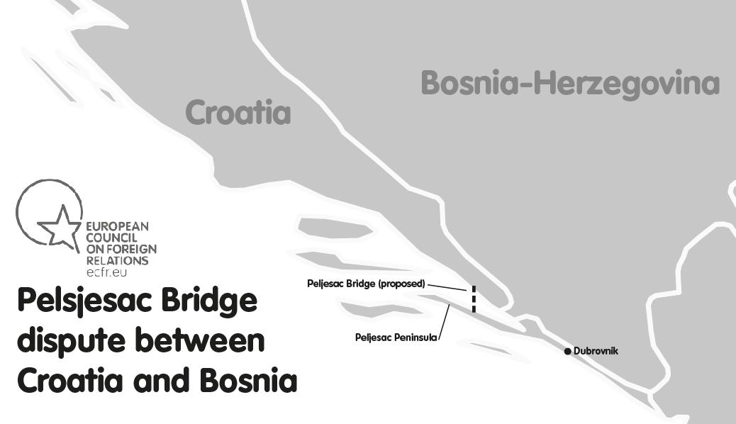 Map of Peljesac Bridge dispute between Croatia and Bosnia