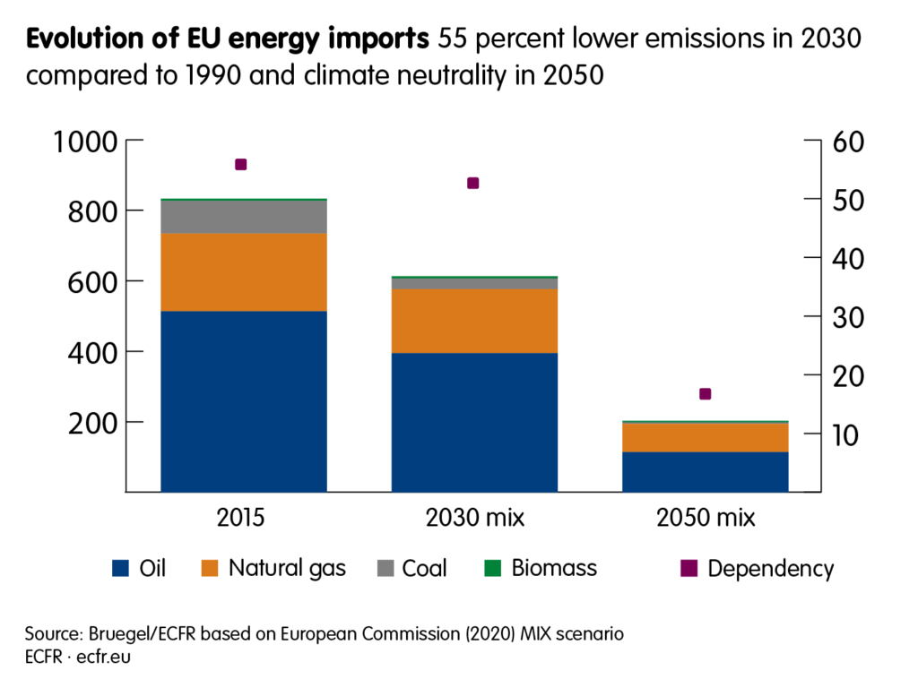 Evolution of EU energy imports: 55 per cent lower emissions in 2030 compared to 1990 and climate neutrality in 2050