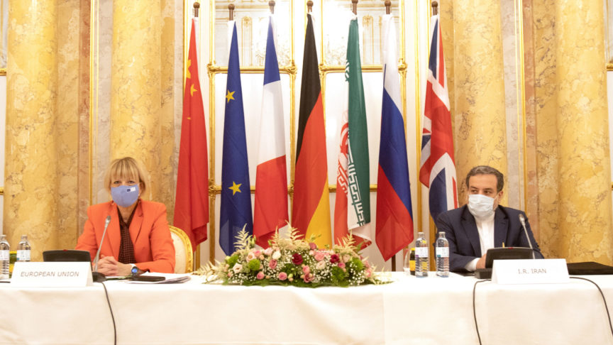 Iran's top nuclear negotiator Abbas Araqchi and Secretary General of the European External Action Service (EEAS) Helga Schmid attend a meeting of the JCPOA Joint Commission in Vienna, Austria, September 1, 2020