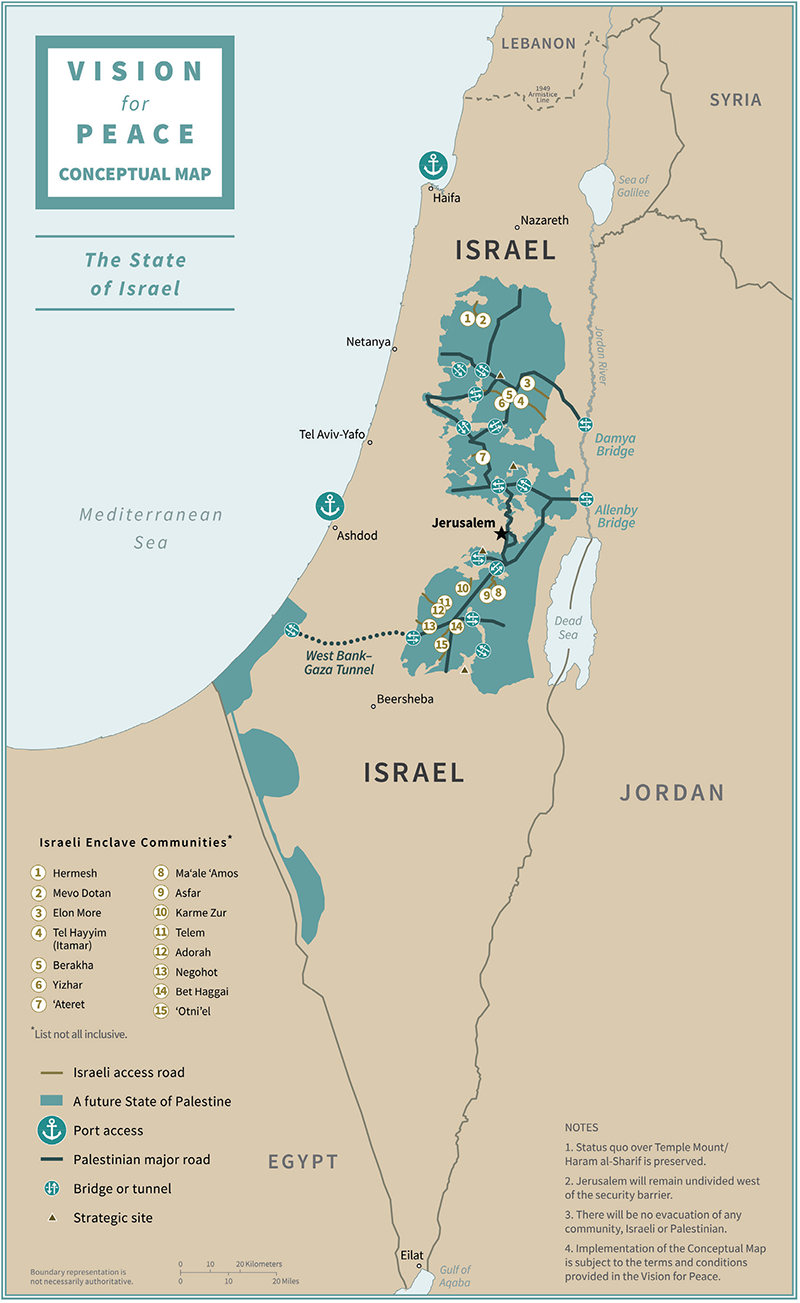 Conceptual map of the State of Israel under the Trump peace plan