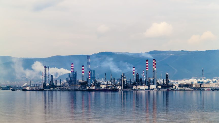 A natural gas refinery reflected in a lake in Turkey