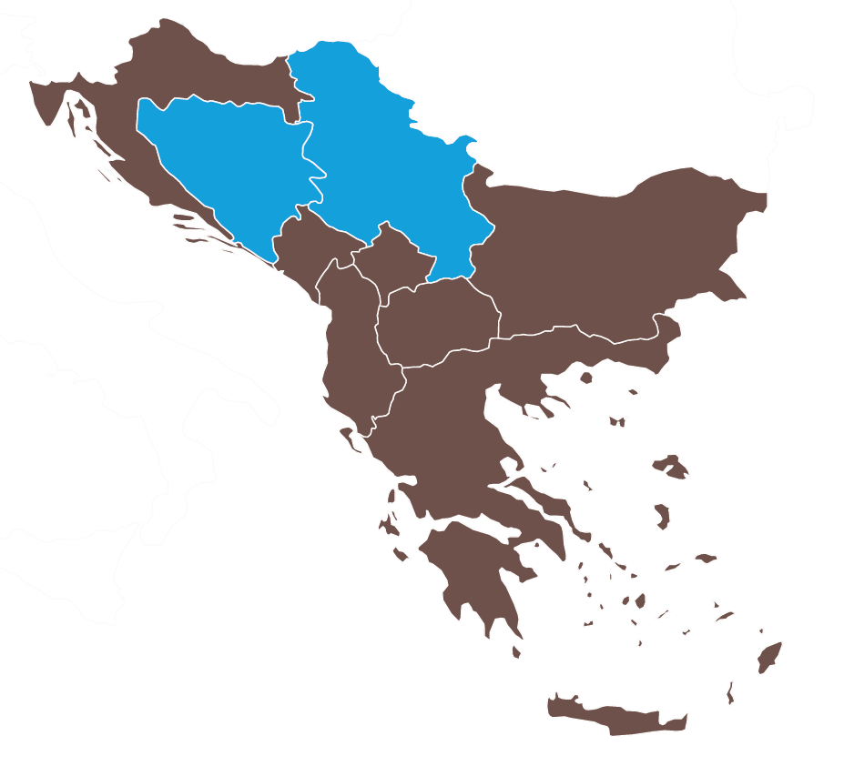 Map of Bosnia-Herzegovina and Serbia
