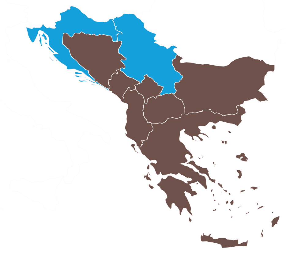 Map of Serbia and Croatia