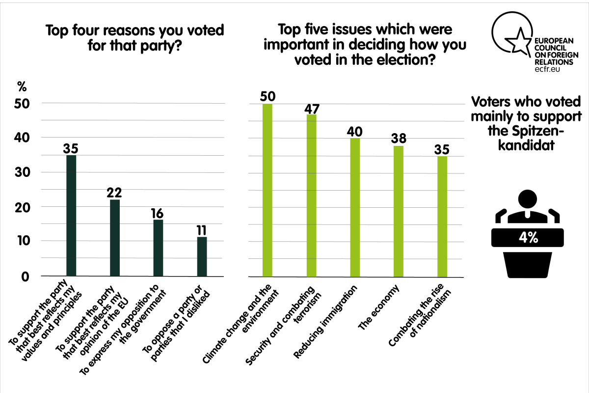 Top four reasons for voting a party and top five issues important in deciding how to vote in the elections in France