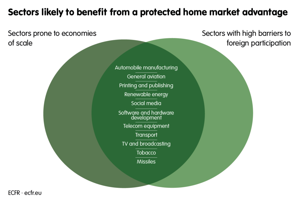 Sectors likely to benefit from a protected home market advantage