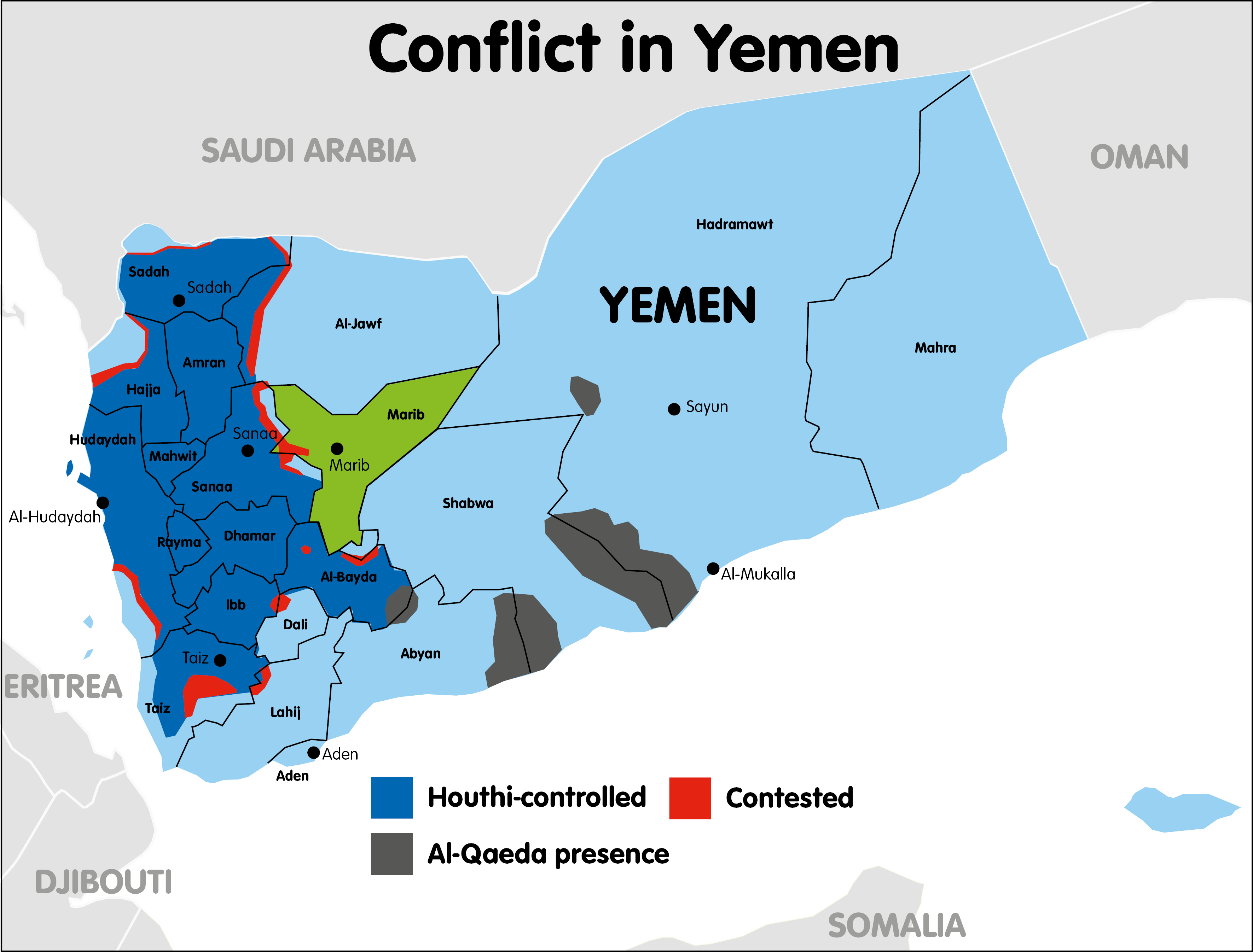Areas of control in Yemen