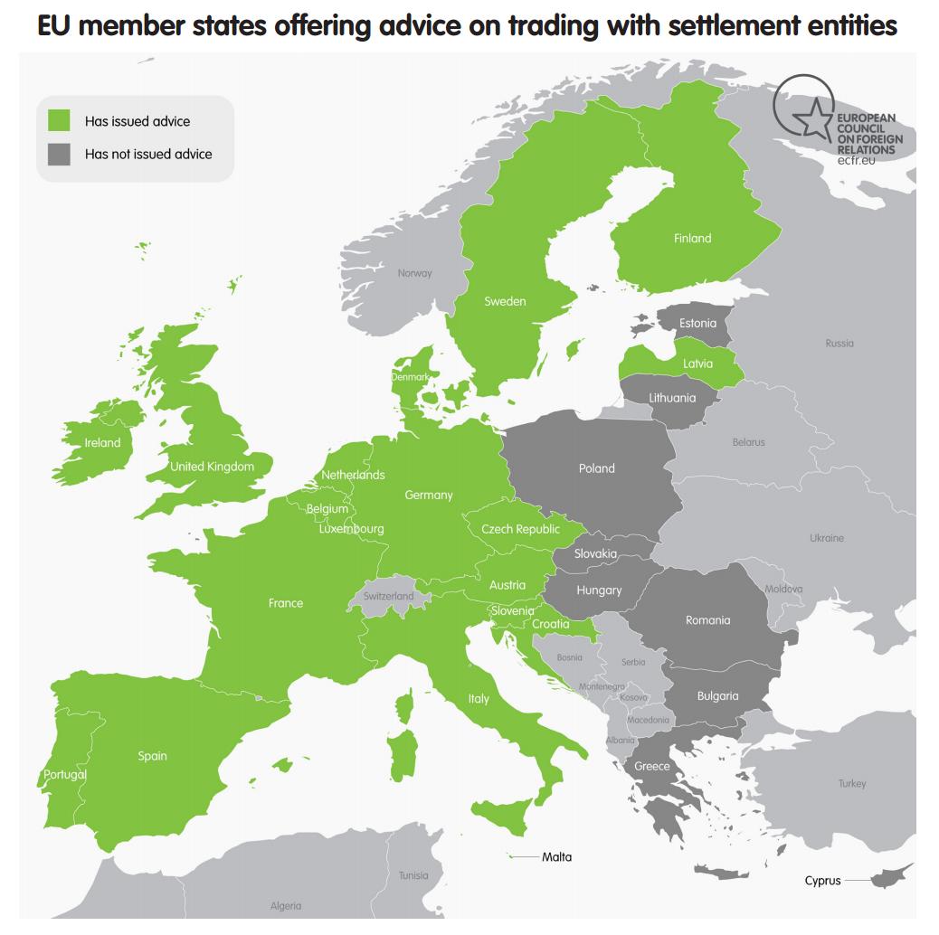 EU members states offering trade advice on Israeli settlements