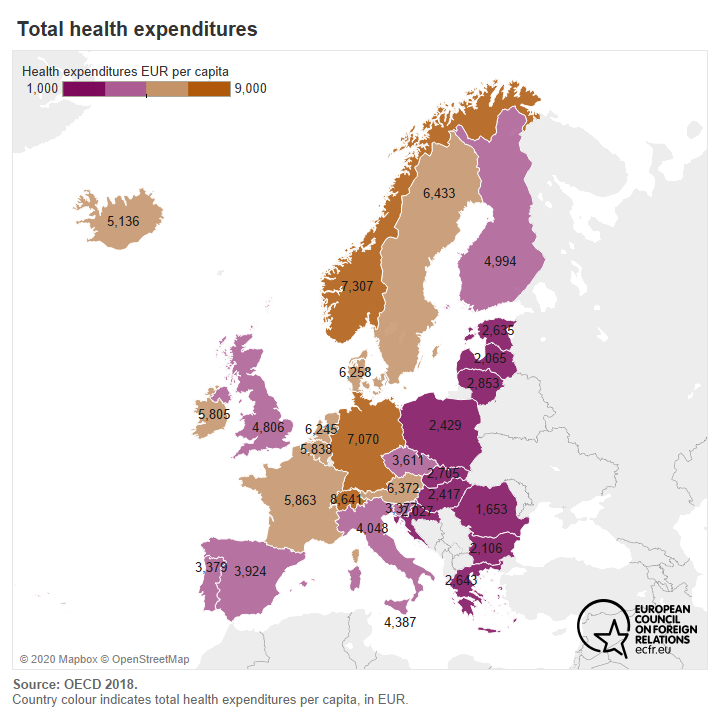 Map of European countries by total health expenditures