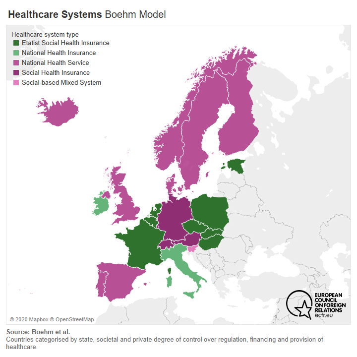 Map of European countries by healthcare system types