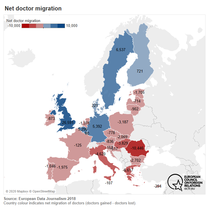 Map of EU countries by net doctor migration