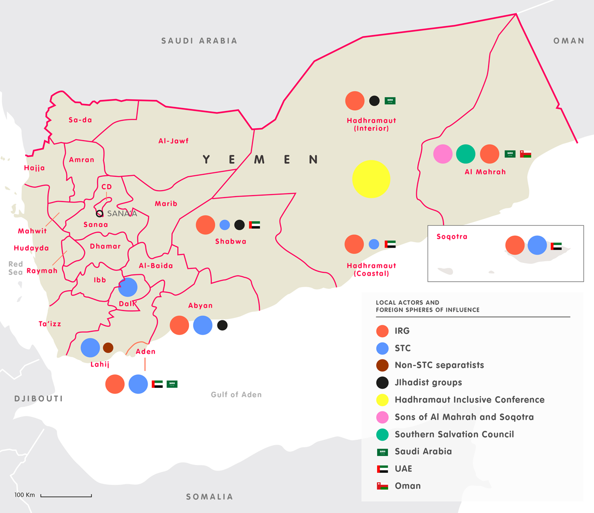 Map of local actors and foreign spheres of influence in Yemen